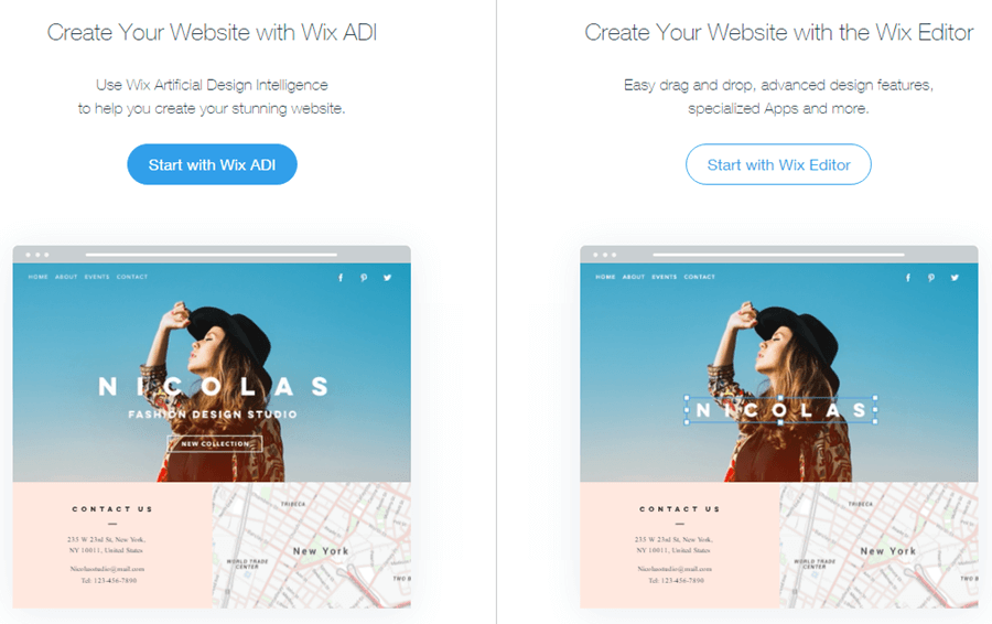 Wix asks whether you want to create a site using Wix ADI, or the Wix Editor